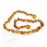 Baby Amber Necklace, Medium- Honey Baroque