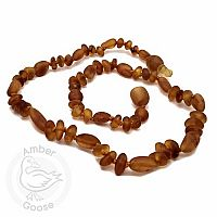 Baby Amber Necklace, Medium - Honey Baroque/Olive Unpolished