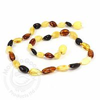 Baby Amber Necklace, Medium - Multi Olive