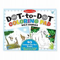 ABC 123 Dot-Dot Coloring Pad - Wild Animals