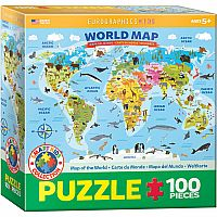Illustrated Map of the World - 100 Piece Puzzle