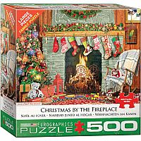 Christmas by the Fireplace - 500 Piece Puzzle