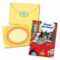 Fireman and Dog Birthday Card