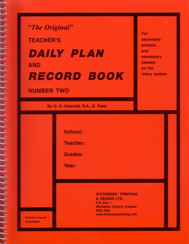 rotary system the original teacher s daily plan and record book